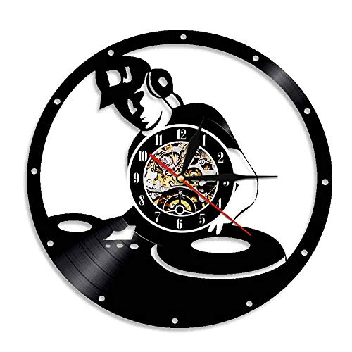 DJ Mixer Vintage Vinyl Record Clock Electronic Music Room Decoration Muziek Disc Jockey Mixing Turntables Vinyl LP Wall Clock-Without_LED