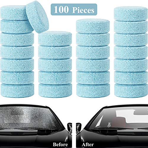 Boao 100 Pieces Car Windshield Glass Concentrated Washer Tablets Solid Car Effervescent Tablets Glass Solid Wiper Cleaning Tablets for Car Kitchen Window
