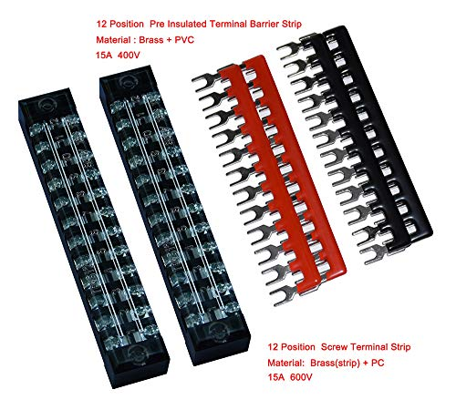 2 Pcs Dual Row 12 Position Screw Terminal Strip 600V 15A + 400V 15A 12 Postions Pre Insulated Terminal Barrier Strip Red/Black 4 Pcs (12 Position 15A 2 Pcs)