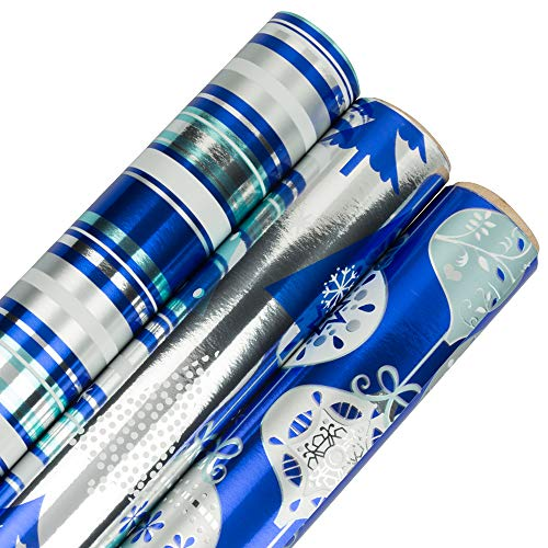 JAM PAPER Assorted Gift Wrap - Christmas Foil Wrapping Paper - 75 Sq Ft Total - Frosted Holidays Set - 3 Rolls/Pack
