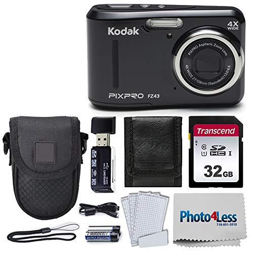 Kodak PIXPRO Friendly Zoom FZ43 16 MP Digital Camera with 4X Optical Zoom and 2.7 LCD Screen (Black) + Black Point & Shoot Case + Transcend 32GB UHS-I U1 SD Memory Card & More!