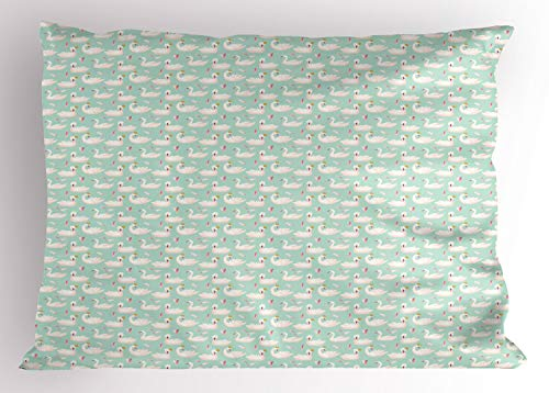 Lunarable Bird Print Pillow Sham, Swans in Crowns and Feathers Pastel Colors Themed Pattern Art, Decorative Standard Size Printed Pillowcase, 26' X 20', Almond Green and Pale Pink