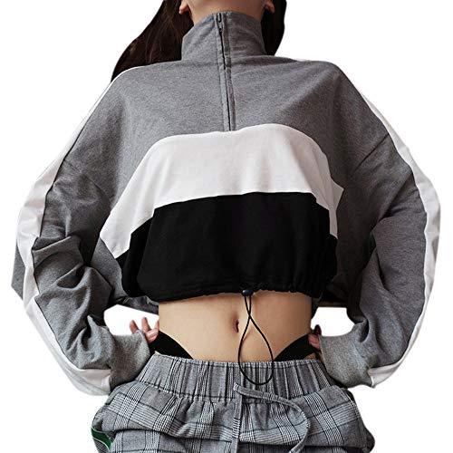Overdose Sudadera con Capucha De Manga Larga para Mujer Blusa con Cremallera Crop Stand Cool Tops Patchworkl con Cremallera Camiseta Top Sudadera
