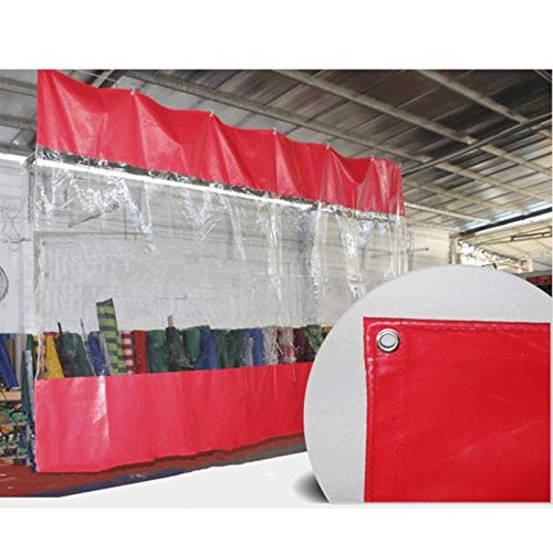 Lona Impermeable Patio Cortina, Al Aire Libre Claro Ojal para Pérgola, Cenador, Cabaña, Ancho X Alto MYAN (Color : Red, Size : 2x3m/6.5x9.8ft)