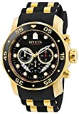 Invicta Men's Pro Diver Scuba 48mm Gold Tone Stainless Steel Quartz Watch with Black Silicone Strap, Black (Model: 6981)