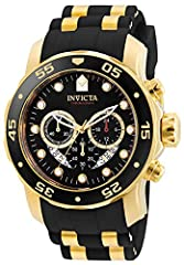 Boasting both high tech and high style, this watch from Invicta Men's Pro Diver collection is sure to satisfy with its sleek black and gold color scheme accented with a trio of subdials and a unidirectional bezel. The watch has a crown push type Japa...