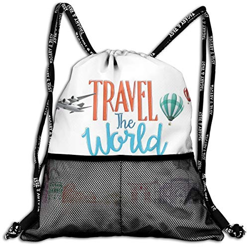 Drawstring Backpack Rucksack Shoulder Bags Gym Bag Sport Bag,Travel The World Lettering with Around World Landmarks Balloons Work of Art Image