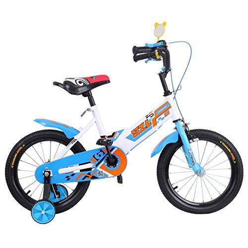 Ridgeyard 16 pulgadas Bicicleta Infantil Estudio aprendizaje montar a caballo bicicleta niños niñas bicicleta con ruedines por 3-5 años(azul)