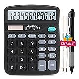 Desk Calculator, Large LCD Display Desktop Calculator 12-Digit Solar Battery Dual Power Office Calculators Big Sensitive Button