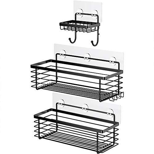 Oriware Adhesivo Negro Estantes Cesta para Ducha Estanteria Organizador Baño SUS304 Acero Inoxidable Sin Taladro - 3 Piezas