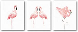 "HPNIUB Nordic Flamingo Wall Art Print Set of 3 (8""X10""Canvas Watercolor Animals Painting Modern Wall Decor for Nursery Cafe Wall Decor, No Frame"