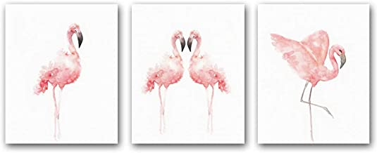 "HPNIUB Nordic Flamingo Wall Art Print Set of 3 (8""X10""Canvas Watercolor Animals Painting Modern Wall Decor for Nursery Caf..."