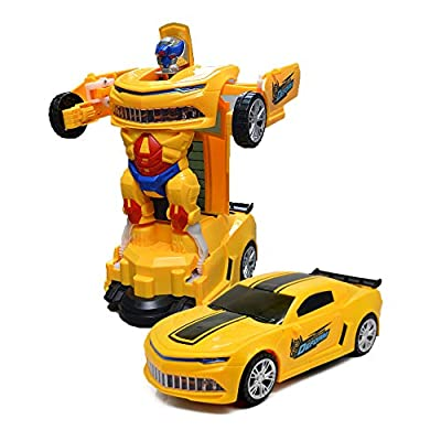 Toysery Transforming Robot Car - Bumblebee Designed One Button Deformation Toy for Kids - Transformers Kid Car Robot Toy with Colorful Lights - Ideal Choice for Gift - for Age 3 Years and Above by Toysery