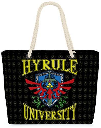 VOID Bolso de Playa XXL Bolsa Shopper University of Hyrule 58 x 38 x 16cm 23l Beach Bag Game Gamer Link, Kissen Farbe:Negro