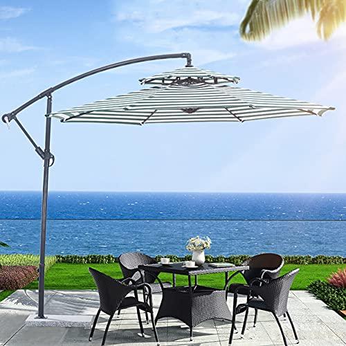 ZYFWBDZ Sombrillas al Aire Libre de Techo de Dos Niveles de 3 M, sombrillas, sombrillas de Aluminio para Patio, sombrillas Romanas, sombrillas Laterales para Exteriores