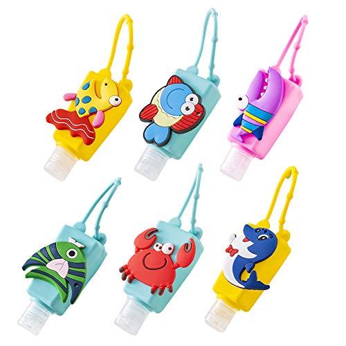 AODOOR 6 Botellas de Viaje portátiles para niños, llaveros, Botellas de Silicona a Prueba de Fugas, Botellas de Viaje de Unicornio Recargables, contenedores para champú, Accesorios de Viaje (30 ml)