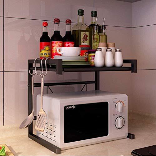 Multifunción Pequeñas Microondas horno de carro expansible 40-60cm de escritorio principal de la tostadora Organizador Shelf 2 Niveles con los ganchos de 50 kg La carga de peso LINGZHIGAN