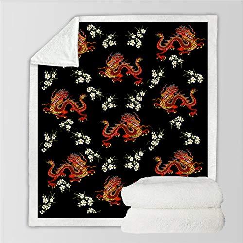 jinda Eastern Dragons Sherpa Manta Colcha de Felpa Floral Animal Rojo Negro Manta de Tiro 150 * 200Cm
