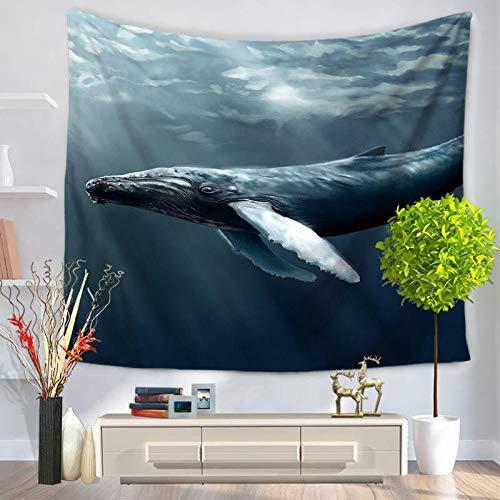 KHKJ Hermosa Vista al mar, Olas del mar, tiburón, Tapiz para Colgar en la Pared, Toalla de Playa, decoración del Sol, Sala de Estar, Oficina, A7 95x73cm