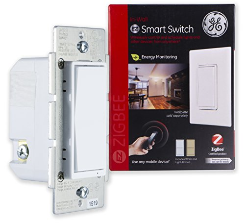 GE 45856GE Zigbee Smart Switch In-Wall Lighting Control, Neutral Wire Required Works Directly with Alexa Plus, Echo Show (2nd Gen), White & Light Almond