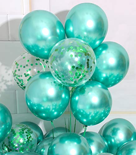 AULE Party Balloons Pack of 42 - Metallic Balloons & Confetti Balloons and 64ft Ribbons - 12 Inch Green Balloon Decorations Set