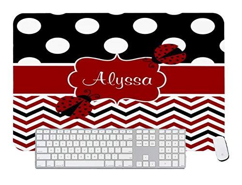 Alfombrilla de ratón para juegos negro rojo mariquita Chevron personalizada para escritorio y portátil 1 paquete de 700 x 400 x 3 mm/27,5 x 15,7 x 1,1 pulgadas