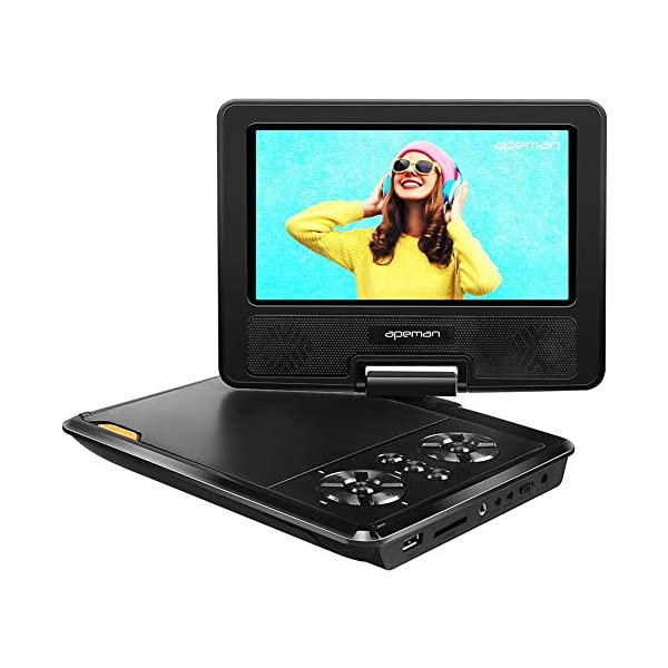 Portable DVD Player for Kids and Car with 7.5'' HD Swivel Screen Support SD Card USB CD DVD with AV Input/Output and Earphone Port, Remote Control, 5 Hours Rechargeable Battery