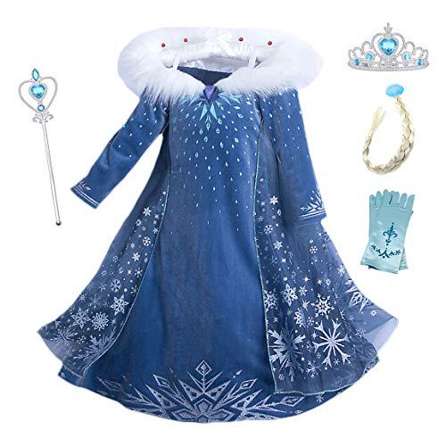 YOSICIL Vestido Elsa con Capa Disfraz de Princesa de Invierno Niñas Manga Larga Vestido Frozen Nieve Traje de Fiesta Costume Princesa Anna para Regalo Cumpleaños Boda Vestido Largo 3-10Años