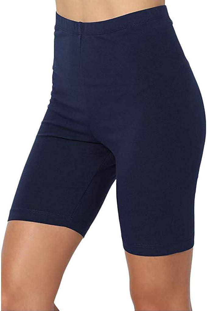 Joyionier Women Summer Active Mid Thigh Stretch Span High Waist Short Leggings Pants