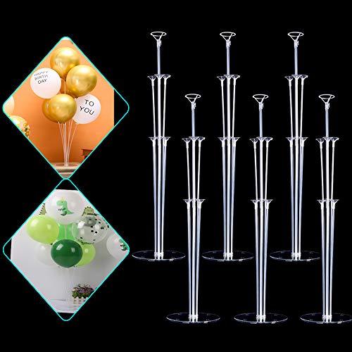 Lusee 6 Set Kit de Soporte para Globos, Kit de Soporte para Globos Transparente Reutilizable para la Decoración de la Boda del Cumpleaños del Partido