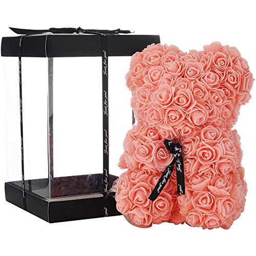 ZHKXBG Rose Bear, Rose Teddy Bear en Cada Rose Bear, para Aniversario, Rose Bear, Madres, Rose Teddy Bear, 14 Pulgadas,Rosado
