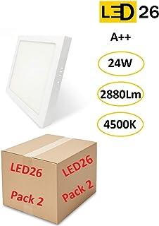 PACK DE 2 Plafones de Techo LED 24W 2880lm Blanco Neutro 4500k Cuadrado Superficie Panel LED Iluminacion Para Sala de Estar, Comedor, Dormitorio, Oficina, Tienda