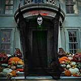 Unomor 25FT Scary Halloween Outdoor Decorations, Hanging Ghost Halloween Decor with Black Creepy Cloth and Skull Mask for Halloween Haunted House Decor Party Supplies