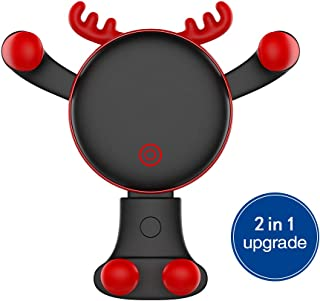 Car Phone Holder, REDSHINE Upgrade Universal Car Mount 2 in 1 Air Vent Car Mount Dashboard Car Mount Gravity Cell Phone Holder for Car for iPhone X 5S 6s 6 Plus 7 8 Galaxy S8 S9 and More (Black)