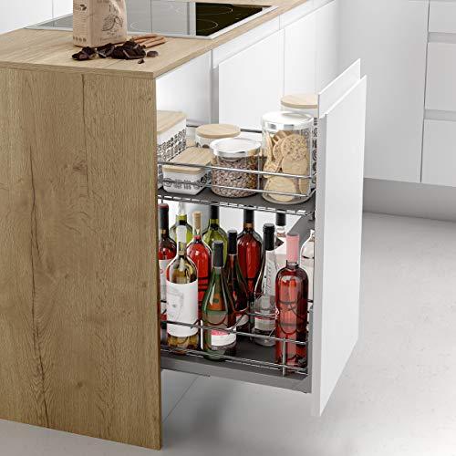 Casaenorden - Botellero extraíble de rejilla para instalar en la base del mueble de cocina, 400