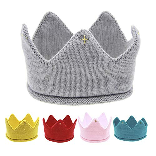 Papermore Baby Boy/Girl Birthday Party Knitted Crown Headband Beanie Cap Toddler Crochet Hat Birthday Gift (Grey)