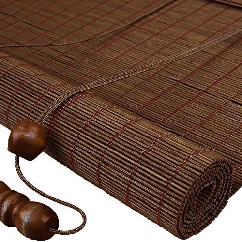 TINGTING Contraventanas, Personalización Roller Blind Bamboo, Solid Roll Up Blinds Para Estudio Balcón Restaurante Casa De Té Salón Decoración De Oficina (color : Marrón, Tamaño : Narrow)