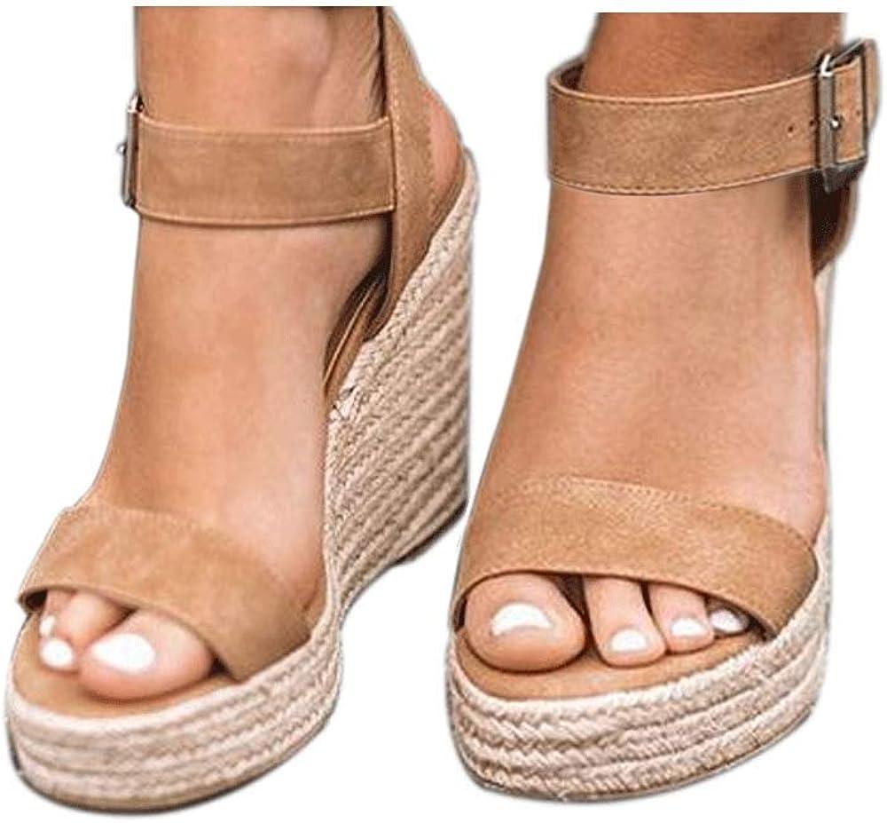 VICKI·VICKI Women's Platform Sandals Wedge Ankle Strap Open Toe Sandals