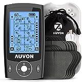 AUVON TENS EMS Electroestimulador Digital, de doble canal para aliviar el dolor, electroestimulador TENS de unidad con 20 modos, 10 piezas de electrodos premium de 2'x 2' con diseño patentado (negro)