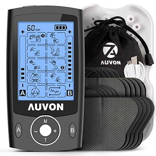 """AUVON TENS EMS Electroestimulador Digital, de doble canal para aliviar el dolor, electroestimulador TENS de unidad con 20 modos, 10 piezas de electrodos premium de 2""""x 2"""" con diseño patentado (negro)"""