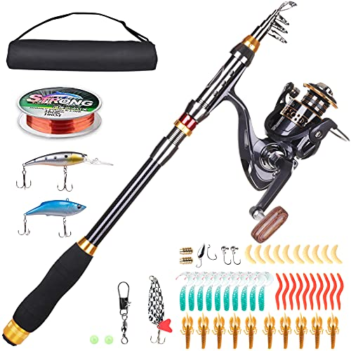 LineRike Fishing Rod and Reel Combos, Carbon Fiber Telescopic Fishing Pole with Spinning Reel,Line,Lure,Hooks,Carrier Bag Portable Travel Fishing Rod for Youth Adults Men Beginner Saltwater Freshwater