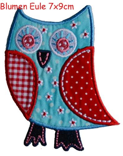 TrickyBoo 2 opstrijkbare bloem uil 8 x 9 cm vogel turquoise 9 x 8 cm set patch applicaties voor het repareren van kinderkleding met design Zürich Zwitserland voor Duitsland en Oostenrijk