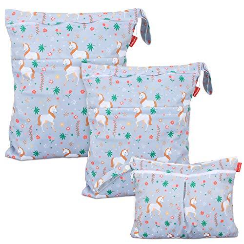 Damai Damero 防水バッグ オムツポーチ 3点セット かわいい 多機能 オムツ 着替え 水着 お風呂用品 タオル 食事セット入れ S+M+L,ユニコーン
