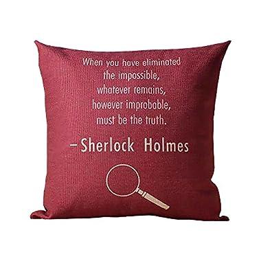 ME COO Vintage Retro Blend Cartoon Sherlock Holmes John Watson Cotton Linen Pillow Case Home Decorative Pillowcase 1Pcs 18 inches × 18 inches 1Pcs