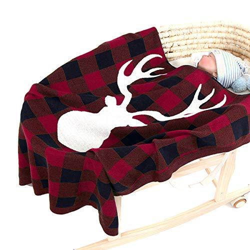 Borlai - Manta de punto para bebé, diseño de alce de Navidad, para c