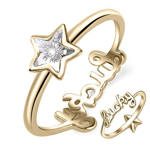 Yan & lei argento Sterling stella di cristallo Swarovski Lucky Lettering anelli color oro, Argento, 50 (15.9), cod. 160812-40