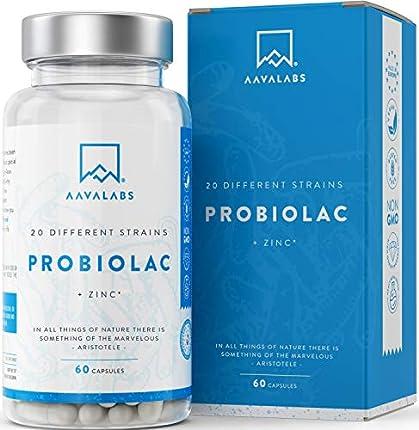 Probióticos y Prebioticos [ 50 mil millones de UFC ] 20x Cepas bacterianas (Incl. Acidophilus & Bifidobacterium) + Inulina por dosis - Zinc agregado para apoyo inmunológico - 60 Cápsulas