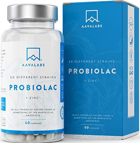Probiótico [ 50 Miles de millones UFC ] - Fórmula de amplio espectro - 20 cepas - Incluye lactobacilos, bífidobacterias y estreptococos - Zinc agregado para el Sistema Inmunológico - 60 cápsulas