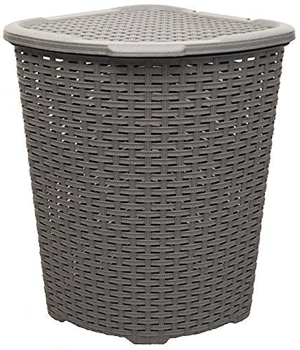 Eckkorb XXL Wäschekorb Wäschebox Wäschetruhe Wäsche Rattan Kunststoff praktisch (Grau)