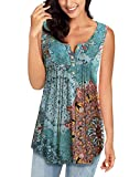 MIROL Womens Spring Sleeveless V Neck Solid Color Casual Swing Shirts Flowy Tank Tops Blouses with Buttons (Large, Lake Blue)